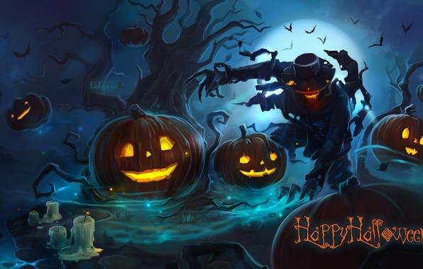 Picture night, tree, fire, the moon, monster, hat, hands, claws, pumpkin, evil, scary, bats, Halloween, gloomy, …