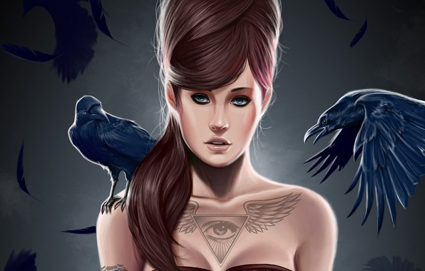 Picture girl, birds, eyes, wings, feathers, tattoo, art, hairstyle, Raven, triangle