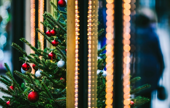 Picture winter, balls, branches, the city, lights, toys, tree, spruce, New Year, Christmas, red, tree, Christmas, ...