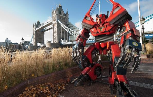 Picture bridge, transformers, fiction, robot, London, Thames