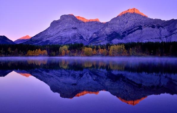 Picture forest, mountains, lake, reflection, Sunrise, Mountains, Morning, Lake, Canadian Rockies, Kananaskis Country