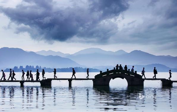 Picture bridge, lake, people, China, Hangzhou, west lake