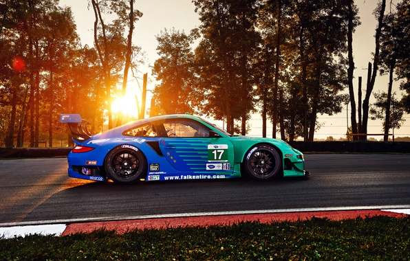 Picture 911, Porsche, Sun, GT3, RSR, Team, Hawks, Competition, Widebody, Sportcar, Track, Spoiler, Trees