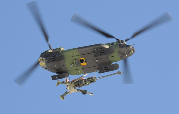 Wallpaper helicopter, transport, howitzer, military