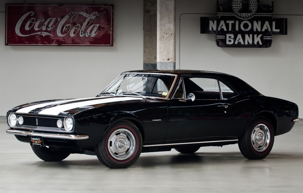 Picture background, black, coupe, Chevrolet, camaro, coca-cola, chevrolet, the front, Muscle car, Camaro, Muscle car, z28, …