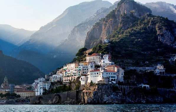 Picture mountains, the city, coast, Italy, Ravello