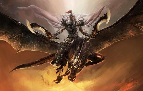 Picture flight, armor, Dragon, warrior, cloak, swords