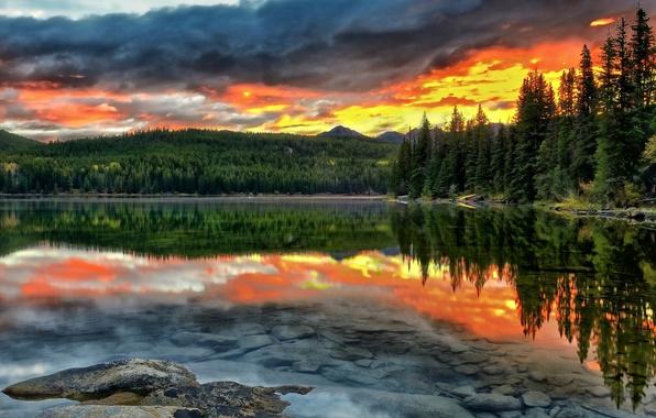 Picture forest, sunset, lake, reflection, the bottom, Canada, Albert, Alberta, Canada, Jasper National Park, Pyramid Lake