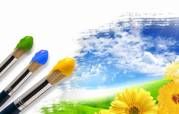 Picture summer, the sky, grass, clouds, flowers, creative, paint, brush, brightness