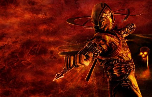 Picture fire, skull, Scorpio, ninja, scorpion, mortal kombat, ninja, furious