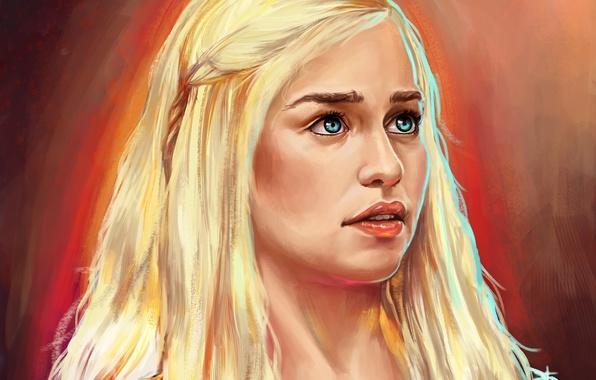 Picture girl, art, painting, Game of Thrones, Emilia Clarke, Daenerys Targaryen