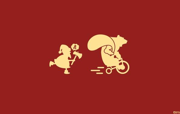 Picture Red, Minimalism, Design, Yellow, Skull, Humor, New Year, Speed, Axe, Bear, Chase, Bike, Animals, Santa …
