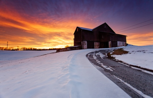 Picture winter, road, the sky, snow, landscape, sunset, nature, house