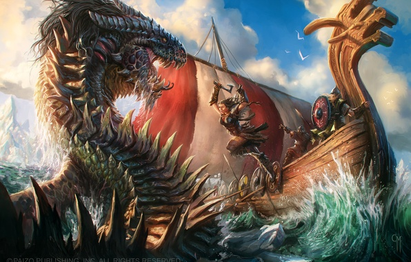 Picture jump, monster, Ship, warrior