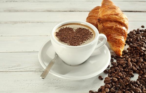 Picture coffee, Breakfast, love, heart, cup, beans, coffee, growing, breakfast, croissant