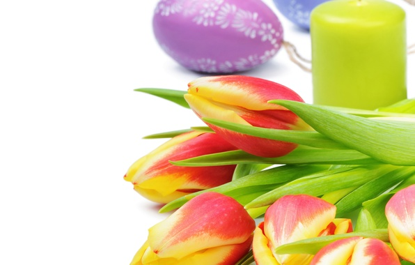 Picture flowers, candle, spring, Easter, tulips, Easter, Tulips, Candles