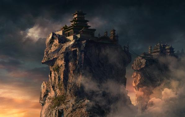 Picture clouds, bridge, rocks, Asia, height, home, art, temple, feng liu, pursue, cable car