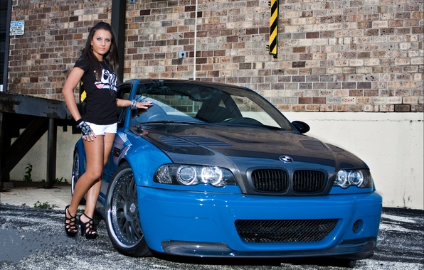 Picture girl, blue, wall, bmw, BMW, brunette, girl, drives, blue, carbon, brick, e46, brunet