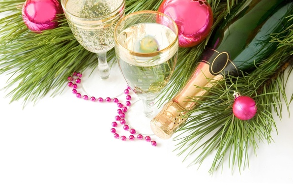 Picture branches, bottle, glasses, champagne, jewelry.