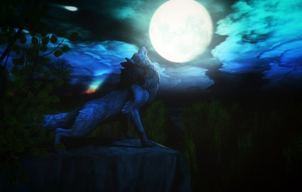 Picture night, the moon, wolf, howl