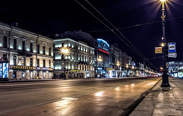 Picture road, night, lights, lights, Russia, Peter, Saint Petersburg, St. Petersburg, Nevsky Prospekt