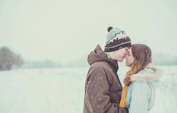 Picture winter, girl, snow, tenderness, guy