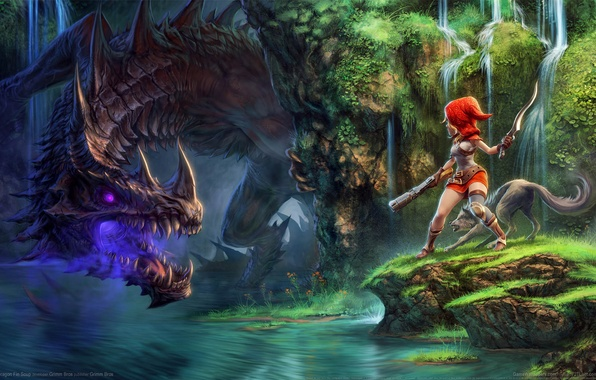 Picture girl, nature, river, dragon, waterfall, wolf, Dragon Fin Soup