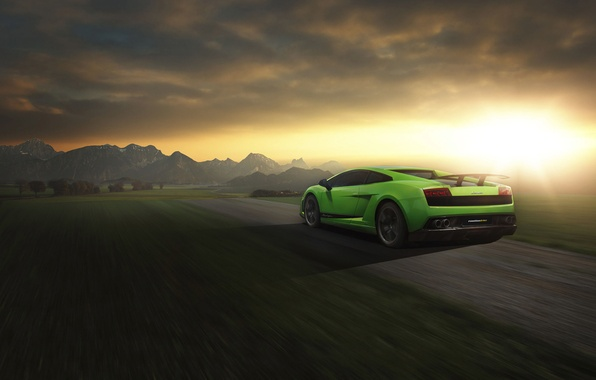 Picture Lamborghini, Superleggera, Gallardo, Green, Speed, LP 570-4, Sunset, Road, Rear