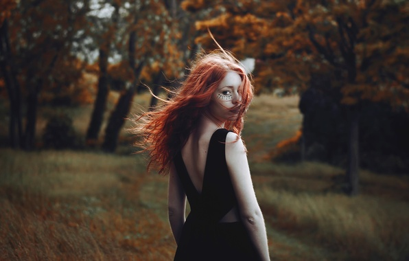 Picture forest, hair, tattoo, redhead, stroke, Gaelle Aube