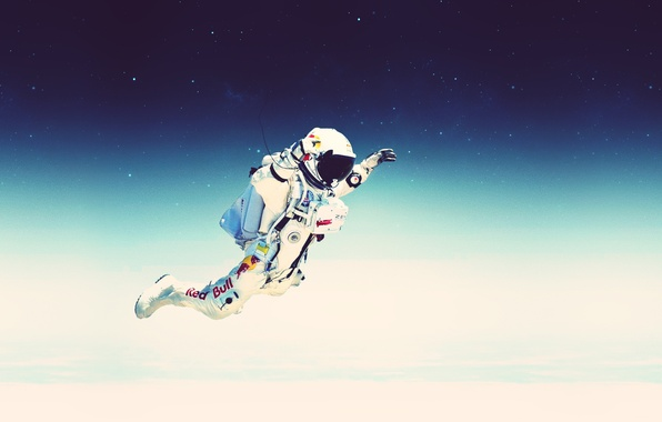 Picture the sky, space, stars, flight, jump, the suit, stratos, red bull, felix baumgartner