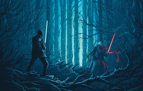 Picture forest, fiction, vector, art, swords, fight, Finn, Star Wars: The Force Awakens, Kylo Ren, Star …