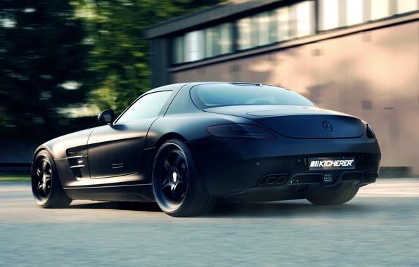 Picture Black, Machine, Tuning, Mercedes, Desktop, Car, 2012, Car, Beautiful, Mercedes Benz, Black, SLS, Kicherer, Wallpapers, …