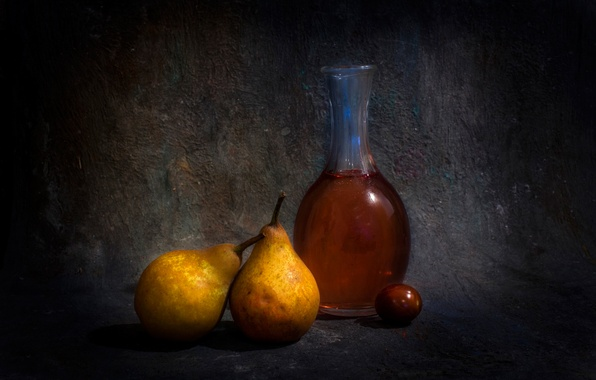 Picture bottle, pear, Oliva