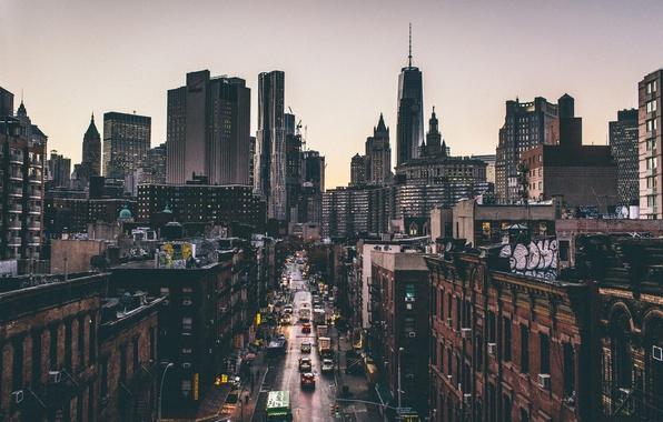 Picture sunset, trucks, movement, street, New York, horizon, Manhattan, cars, life, One World Trade Center, United ...