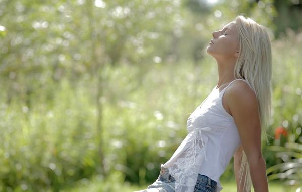 Picture summer, girl, tenderness, skirt, Mike, blonde, profile, bokeh, charm, anneli