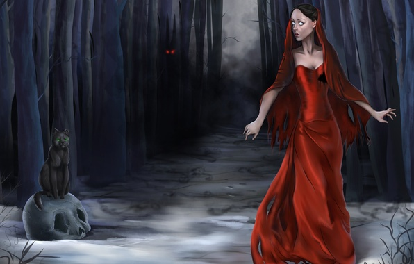 Picture forest, cat, eyes, girl, trees, night, fog, fear, figure, skull, dress, fantasy, art, Halloween, Halloween, …