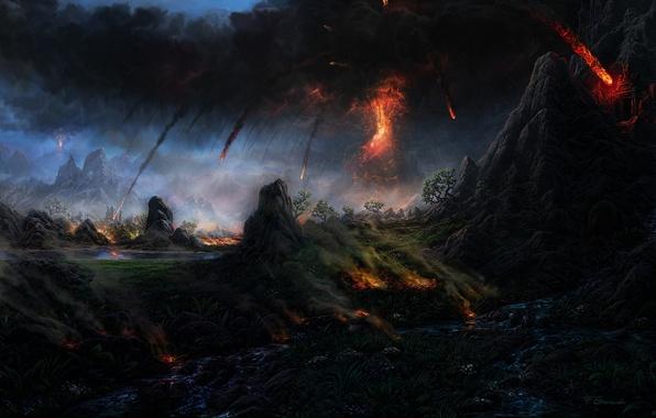 Picture trees, nature, smoke, mountain, the volcano, art, lava, Fel-X