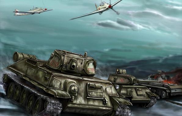 Picture war, figure, battle, art, tanks, aircraft, offensive, T-34-76, Il-2, The great Patriotic war