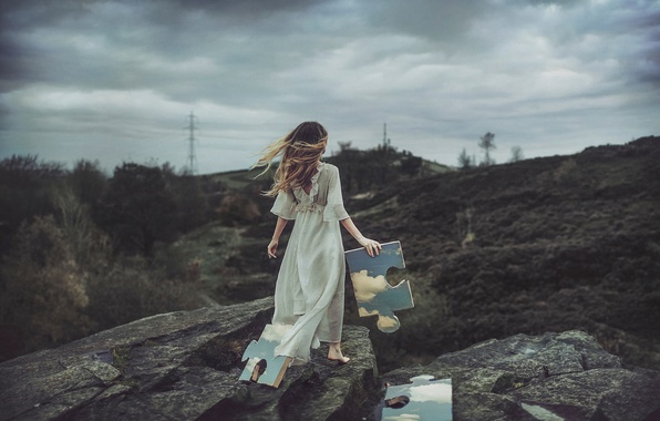Picture the sky, girl, clouds, stones, puzzles, fragments