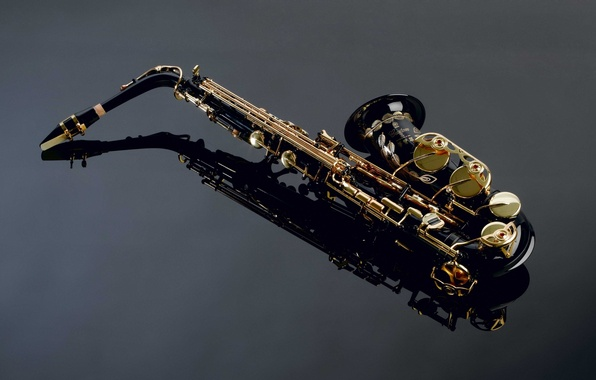 Picture reflection, Saxophone, details, beautiful, musical instrument, Saxophone