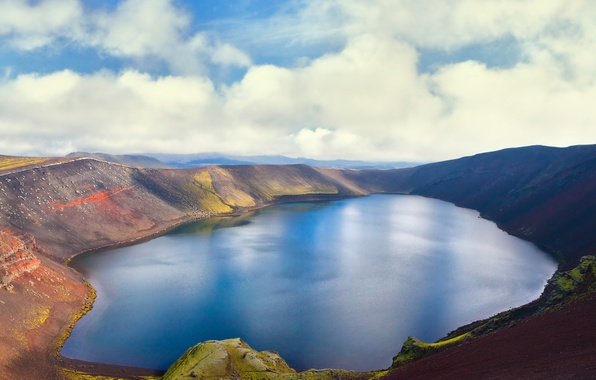 Picture the sky, clouds, lake, the volcano, Iceland, Iceland, Island