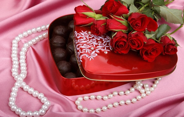 Picture decoration, love, flowers, gift, heart, rose, food, chocolate, roses, bouquet, petals, silk, sequins, rhinestones, candy, …