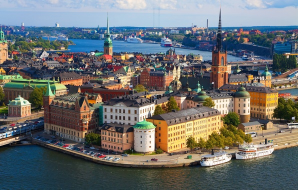 Picture the city, photo, movement, view, building, pier, horizon, Church, panorama, tower, old, architecture, Stockholm, Sweden, …
