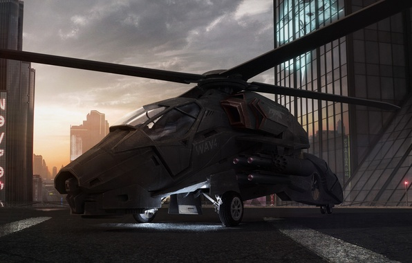 Picture roof, sunset, building, office, helicopter, wasp
