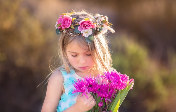 Photo wallpaper girl, summer, flowers