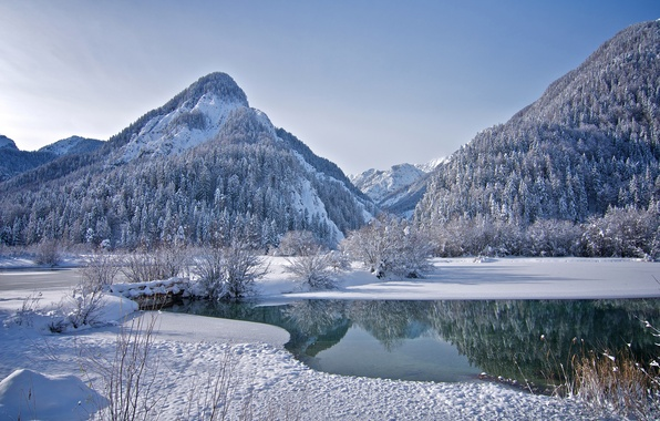 Picture ice, winter, forest, the sky, snow, trees, mountains, lake