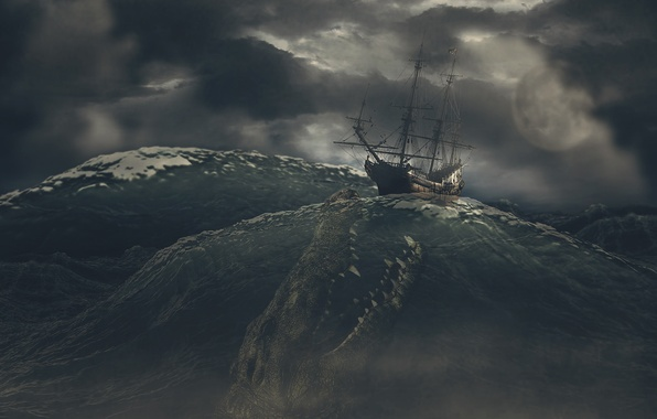 Picture sea, the sky, clouds, storm, rendering, sea monster