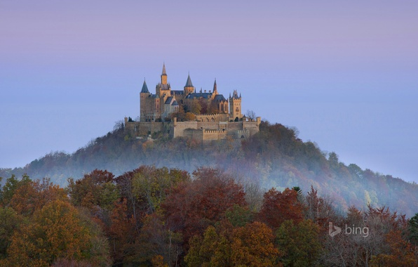 Picture autumn, forest, the sky, trees, mountain, Germany, Hohenzollern castle