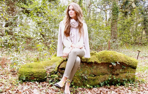 Picture autumn, look, leaves, nature, model, scarf, heels, log, sitting, Clara Alonso