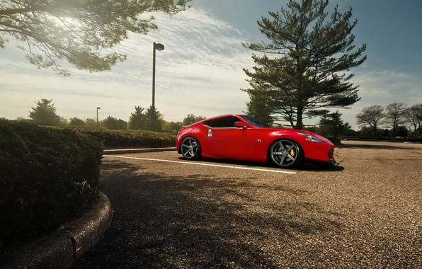 Picture tuning, red, car, Nissan, hd wallpaper, Nissan 370Z